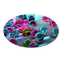 Colorful Balls Of Glass 3d Oval Magnet