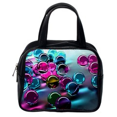 Colorful Balls Of Glass 3d Classic Handbags (one Side)