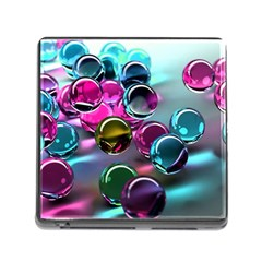 Colorful Balls Of Glass 3d Memory Card Reader (square)