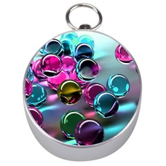 Colorful Balls Of Glass 3d Silver Compasses