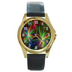 Colorful Firework Celebration Graphics Round Gold Metal Watch