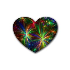 Colorful Firework Celebration Graphics Heart Coaster (4 Pack)