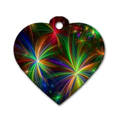 Colorful Firework Celebration Graphics Dog Tag Heart (two Sides)