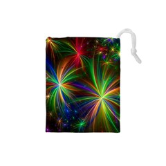 Colorful Firework Celebration Graphics Drawstring Pouches (small)