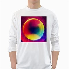 Colorful Glowing White Long Sleeve T Shirts
