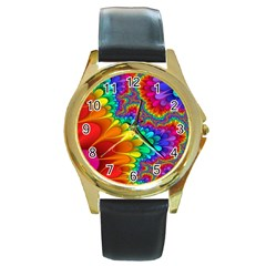 Colorful Trippy Round Gold Metal Watch