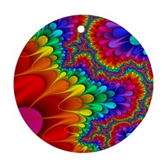 Colorful Trippy Round Ornament (two Sides)