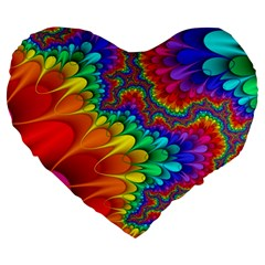 Colorful Trippy Large 19  Premium Flano Heart Shape Cushions