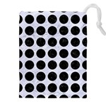 CIRCLES1 BLACK MARBLE & WHITE MARBLE (R) Drawstring Pouch (XXL) Front