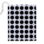 CIRCLES1 BLACK MARBLE & WHITE MARBLE (R) Drawstring Pouch (XXL) Back