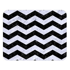 Chevron3 Black Marble & White Marble Double Sided Flano Blanket (large)