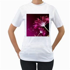 Drawing Flowers Lotus Women s T Shirt (white) (two Sided)