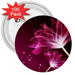 Drawing Flowers Lotus 3  Buttons (100 Pack)