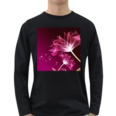 Drawing Flowers Lotus Long Sleeve Dark T Shirts