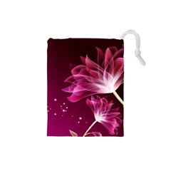 Drawing Flowers Lotus Drawstring Pouches (small)