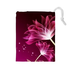 Drawing Flowers Lotus Drawstring Pouches (large)