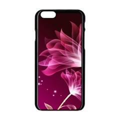 Drawing Flowers Lotus Apple Iphone 6/6s Black Enamel Case