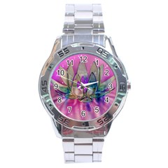 Crystal Flower Stainless Steel Analogue Watch