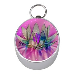 Crystal Flower Mini Silver Compasses