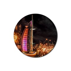 Dubai Burj Al Arab Hotels New Years Eve Celebration Fireworks Rubber Round Coaster (4 Pack)