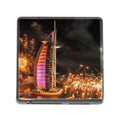 Dubai Burj Al Arab Hotels New Years Eve Celebration Fireworks Memory Card Reader (square)