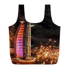 Dubai Burj Al Arab Hotels New Years Eve Celebration Fireworks Full Print Recycle Bags (l)