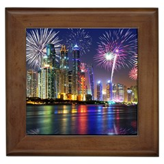 Dubai City At Night Christmas Holidays Fireworks In The Sky Skyscrapers United Arab Emirates Framed Tiles