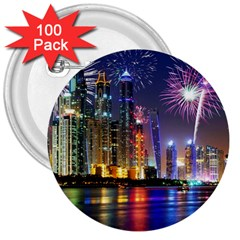 Dubai City At Night Christmas Holidays Fireworks In The Sky Skyscrapers United Arab Emirates 3  Buttons (100 Pack)