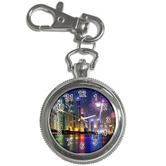 Dubai City At Night Christmas Holidays Fireworks In The Sky Skyscrapers United Arab Emirates Key Chain Watches