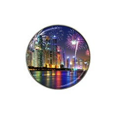 Dubai City At Night Christmas Holidays Fireworks In The Sky Skyscrapers United Arab Emirates Hat Clip Ball Marker (4 Pack)
