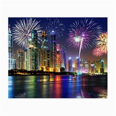 Dubai City At Night Christmas Holidays Fireworks In The Sky Skyscrapers United Arab Emirates Small Glasses Cloth