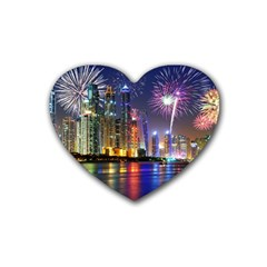 Dubai City At Night Christmas Holidays Fireworks In The Sky Skyscrapers United Arab Emirates Rubber Coaster (heart)
