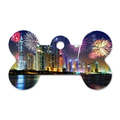 Dubai City At Night Christmas Holidays Fireworks In The Sky Skyscrapers United Arab Emirates Dog Tag Bone (two Sides)