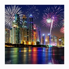 Dubai City At Night Christmas Holidays Fireworks In The Sky Skyscrapers United Arab Emirates Medium Glasses Cloth (2 Side)