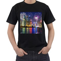 Dubai City At Night Christmas Holidays Fireworks In The Sky Skyscrapers United Arab Emirates Men s T Shirt (black)