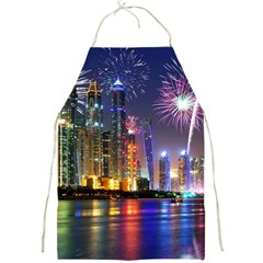 Dubai City At Night Christmas Holidays Fireworks In The Sky Skyscrapers United Arab Emirates Full Print Aprons