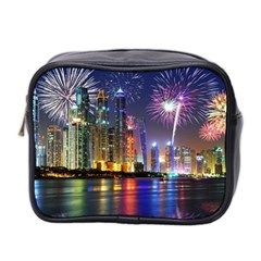 Dubai City At Night Christmas Holidays Fireworks In The Sky Skyscrapers United Arab Emirates Mini Toiletries Bag 2 Side