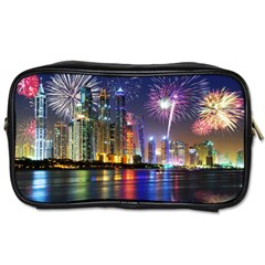Dubai City At Night Christmas Holidays Fireworks In The Sky Skyscrapers United Arab Emirates Toiletries Bags 2 Side