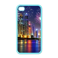 Dubai City At Night Christmas Holidays Fireworks In The Sky Skyscrapers United Arab Emirates Apple Iphone 4 Case (color)