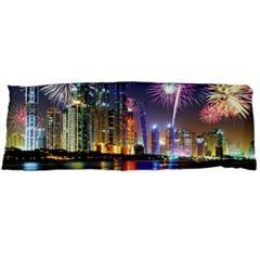 Dubai City At Night Christmas Holidays Fireworks In The Sky Skyscrapers United Arab Emirates Body Pillow Case Dakimakura (two Sides)
