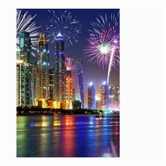 Dubai City At Night Christmas Holidays Fireworks In The Sky Skyscrapers United Arab Emirates Small Garden Flag (two Sides)