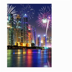 Dubai City At Night Christmas Holidays Fireworks In The Sky Skyscrapers United Arab Emirates Large Garden Flag (two Sides)