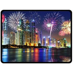 Dubai City At Night Christmas Holidays Fireworks In The Sky Skyscrapers United Arab Emirates Double Sided Fleece Blanket (large)