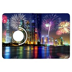 Dubai City At Night Christmas Holidays Fireworks In The Sky Skyscrapers United Arab Emirates Kindle Fire Hdx Flip 360 Case