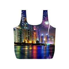 Dubai City At Night Christmas Holidays Fireworks In The Sky Skyscrapers United Arab Emirates Full Print Recycle Bags (s)