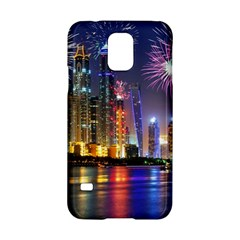 Dubai City At Night Christmas Holidays Fireworks In The Sky Skyscrapers United Arab Emirates Samsung Galaxy S5 Hardshell Case