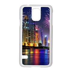 Dubai City At Night Christmas Holidays Fireworks In The Sky Skyscrapers United Arab Emirates Samsung Galaxy S5 Case (white)