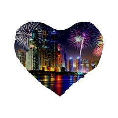 Dubai City At Night Christmas Holidays Fireworks In The Sky Skyscrapers United Arab Emirates Standard 16  Premium Flano Heart Shape Cushions
