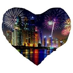 Dubai City At Night Christmas Holidays Fireworks In The Sky Skyscrapers United Arab Emirates Large 19  Premium Flano Heart Shape Cushions