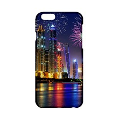 Dubai City At Night Christmas Holidays Fireworks In The Sky Skyscrapers United Arab Emirates Apple Iphone 6/6s Hardshell Case
